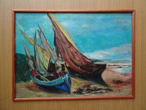 """G.Courbet Barques de pêche sur la plage de Deauville"""""""