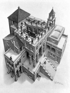 """Cornelis ESCHER """"La maison et l'escalier"""""""
