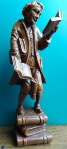 Le rat de bibliothèque d'après Carl Spitzweg- Sculpture en bois - Suisse