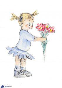 Fillette et fleurs - aquarelle