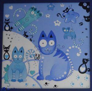 Tableau chats bleus - cadeau anniversaire