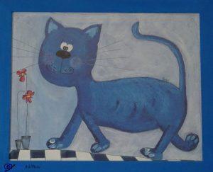 Tableau chat bleu - cadeau anniversaire