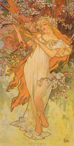 Mucha - les saisons - printemps - 1896 - source livre collection Ivan Lendl