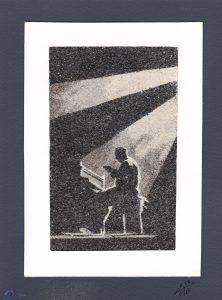 Tableau de sable - Pianiste