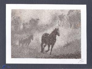 Tableau de sable - Chevaux dans la brume