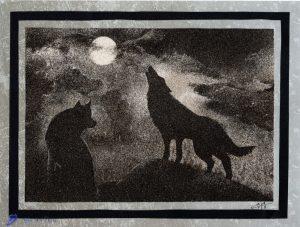 Tableau de sable - Loups dans la nuit
