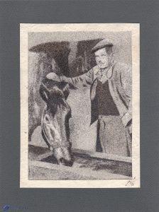 Gustave et son cheval - Tableau de sable