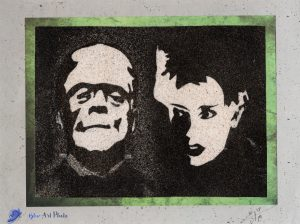 Tableau de sable - Halloween - Frankenstein and his Bride