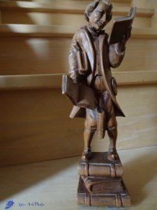 Le Rat de Bibliothèque - d'après Carl Spitzweg - Sculpture sur bois - Suisse