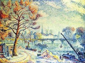 Le pont des Arts - Paul Signac - 1925 - Source http://paris1900.lartnouveau.com/ponts