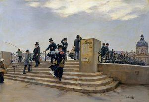 Jean Béraud - Le Pont des Arts par grand vent - 1880-1881 - Source Wikipédia