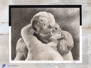 Tableau de sable - Le baiser de Rodin
