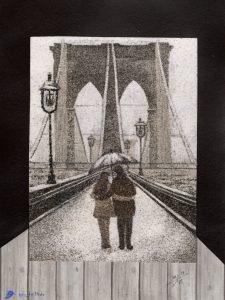 Tableau de sable - Pont de Brooklyn en hiver - New-York