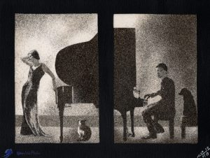 Tableau de sable - Pianiste et chanteuse