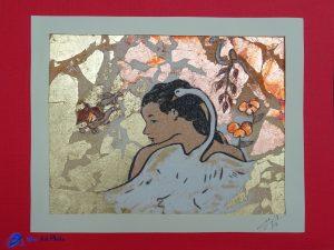 Tableau de sable-feuilles d'or - D'après un dessin de Gauguin - Léda