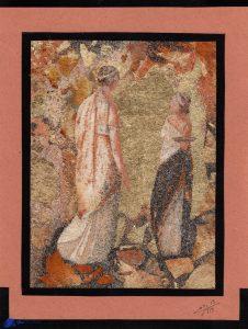 Tableau de sable-feuilles d'or