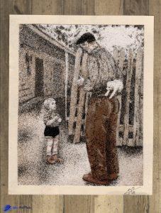 Tableau de sable - D'après une photo ancienne - Quelques secondes avant le bonheur, 1955 - Source Pinterest