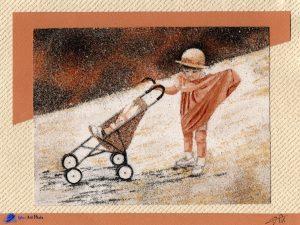 Tableau de sable - Souvenir d'enfance - Marine