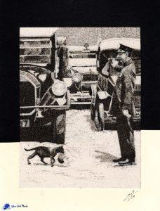 Tableau de sable - D'après une photo ancienne - Harry Watnecke de 1925 - Source Pinterest
