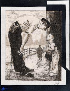 Tableau de sable - D'après une photo ancienne - William C. Beall - Faith and Confidence, 1958
