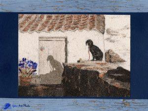 Tableau de sable-fleurs séchées