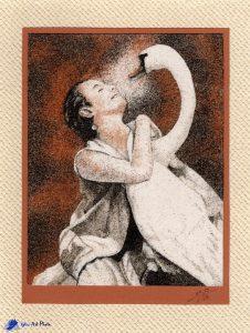 Tableau de sable - La danseuse Anna Pavlova et son cygne Jack - Source Pinterest
