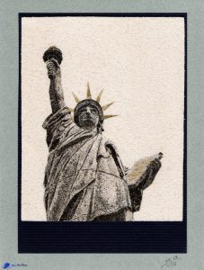 Tableau de sable - Statue de la liberté - Paris - Île aux cygnes