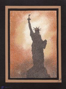 Tableau de sable New-York - Coucher de soleil